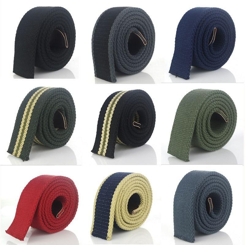 Cintura Women della tela BOKADIAO uomini senza fibbia addensare lusso cinturino cinture di banda dei jeans Cintura nera tessere 3.8cm maschio cinghia larga