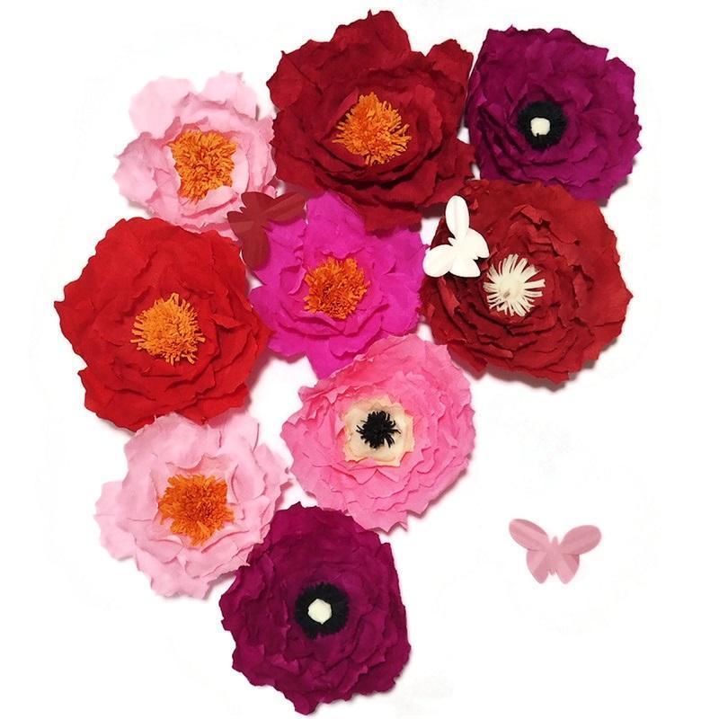 2020 Giant Креп бумага Искусственные цветы 9PCS + бабочка Свадьба Декор Детские Детские Окна Показать Handmade Crafts Customized