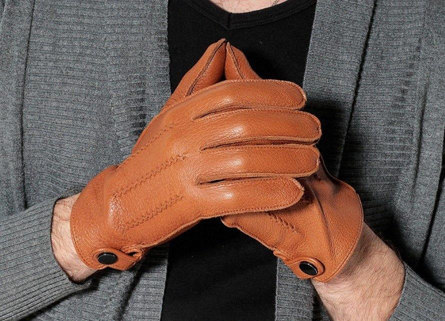 Gants gros-Free shipping Cyrilus Hommes cachemire Deerskin chaud d'hiver en cuir Gants en peau de mouton gants de conduite CYM-016 XON3 #