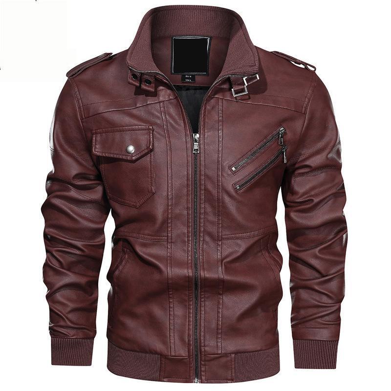 El otoño y el invierno de Nueva tendencia de la moda collar del soporte de la chaqueta de cuero de la chaqueta de la manera ocasional ropa cuero de la motocicleta