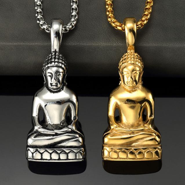 Uomini all'ingrosso Donne Guanyin Buddha in acciaio inox collane moda fortunato a catena pendente collana gioielli regalo spedizione gratuita