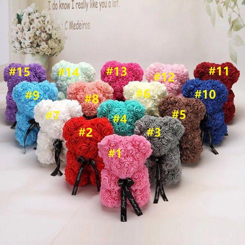 Aşk Romantik Oyuncak Ayı Doll Sevimli GirlFriend Çocuklar Mevcut 25cm 10pcs Yeni Sevgililer Günü Hediye PE Gül Ayı Oyuncak Doldurulmuş Tam