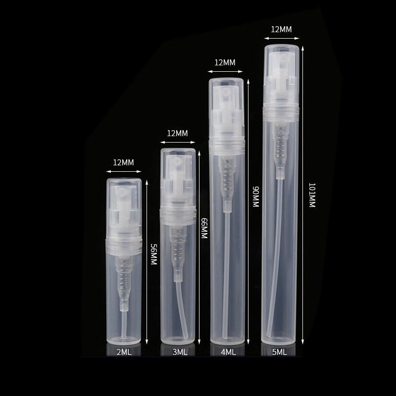 Plástico vazio transparente do pulverizador de plástico vazio 2ml 3ml 5ml 10ml Frasco de perfume do perfume 5cc Recipiente da bomba de pulverização da espiral 5cc Recipiente 163 G2