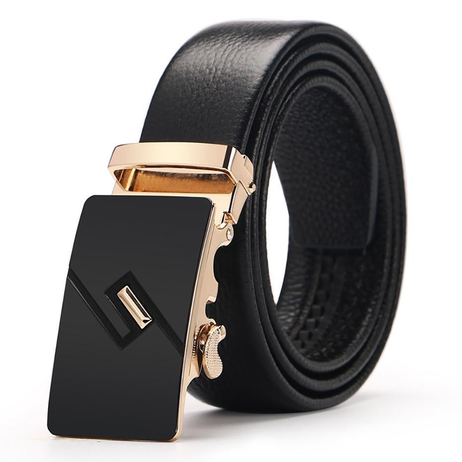 VACHE véritables ceintures en cuir pour hommes automatique Ratchet Boucle de mode Ceintures en cuir Casual Longueur 110-130CM