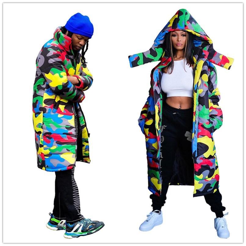 Femmes Hommes Coton rembourré Vêtements Couleur Camouflage Mode Hiver chaud épais à capuche zippé longue Pain Manteaux Coton Veste Wadded F110405