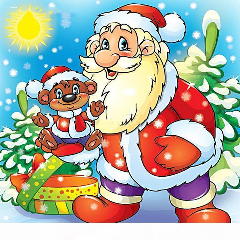 Diamante pintura dos desenhos animados Papai Noel Cross Stitch Kit Diamante Mosaic completa Bordado de Natal Home Decor Holiday Gift