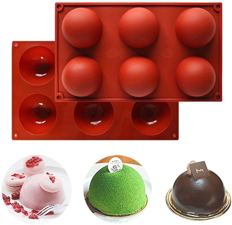6 отверстий силиконовые формы для шоколада, торт, желе, пудинг, мыло ручной работы, круглой формы Большой Semi прессформы Sphere силикона DIY