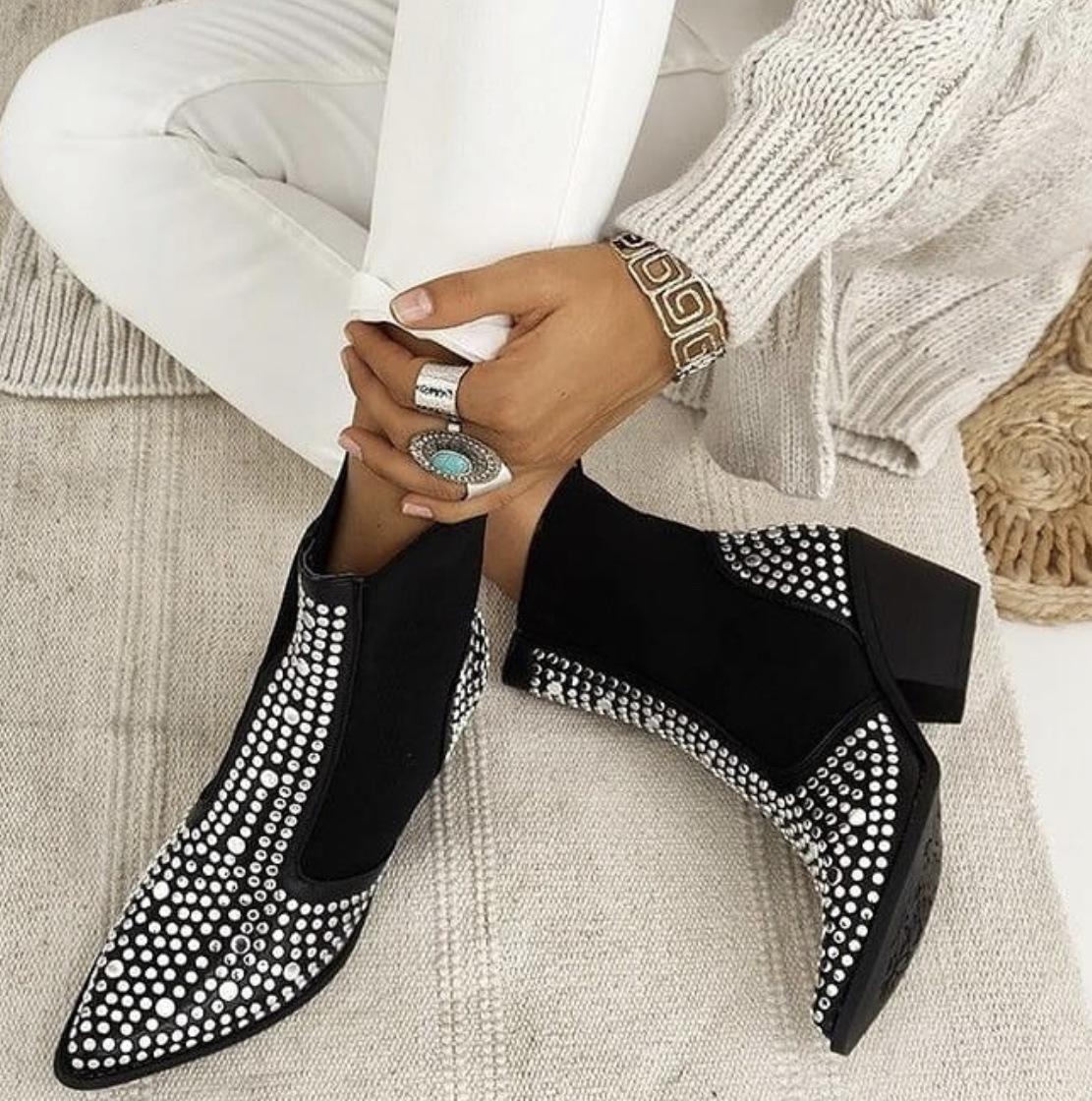 Tacones cuadrados diseño nuevo de alta calidad de los remaches clásicas de la manera zapatos de las botas del tobillo elástico Ropa de mujer Botas