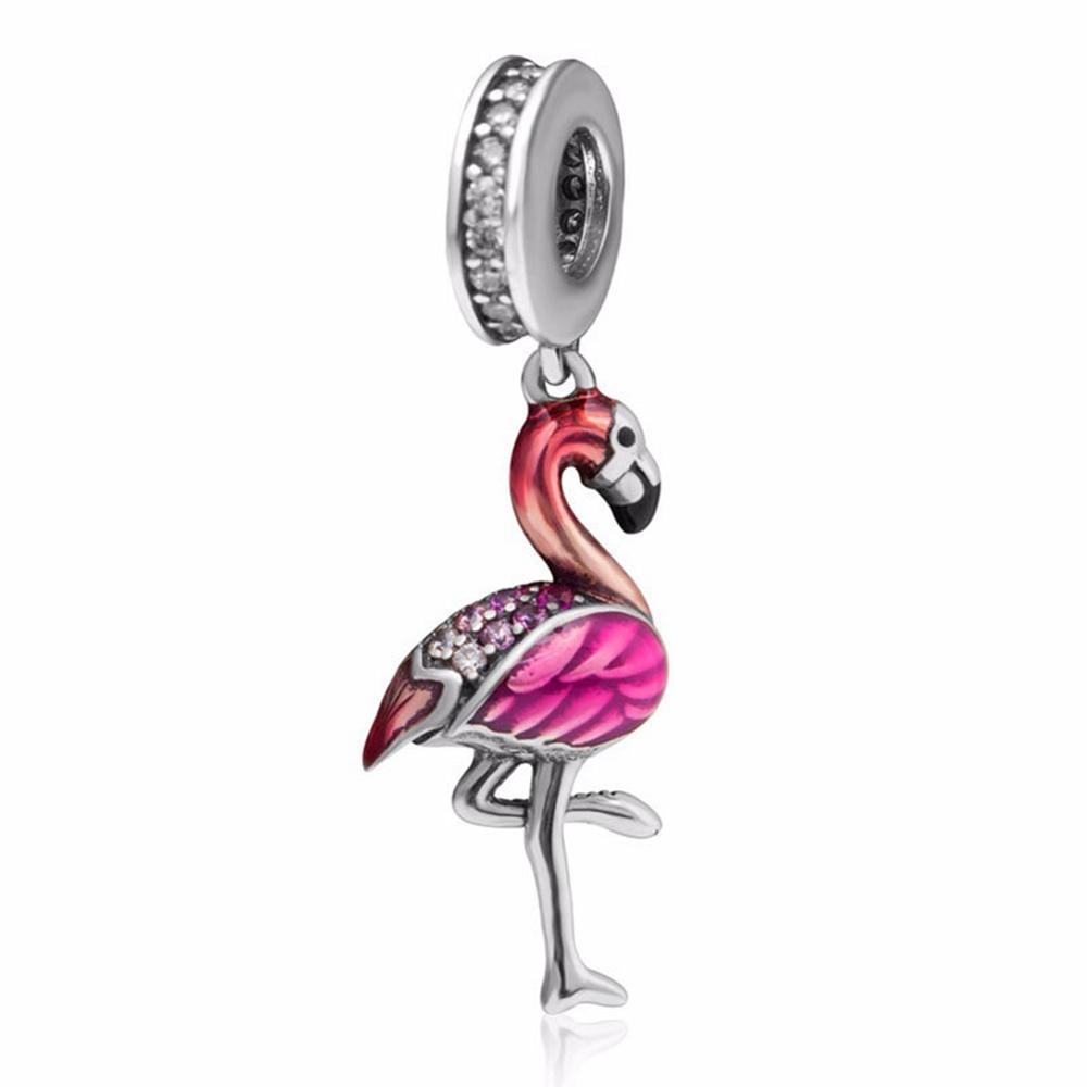 Оригинальный Flamingo S925 стерлингового серебра браслет из бисера Сыпучие шармов животных с алмазными Diy аксессуары