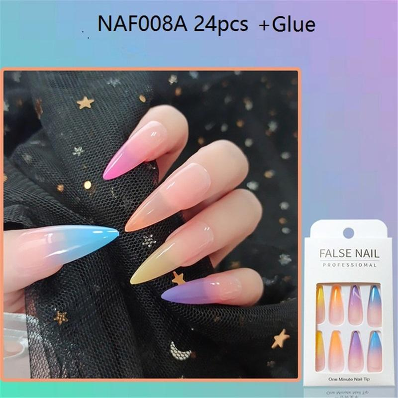 NAF008 24 Pièces / Set couverture complète en dégradé de couleur Faux ongles TIPS bonbons couleur trapézoïdaux faux ongles Ballerina FAUX KITS Nail Art