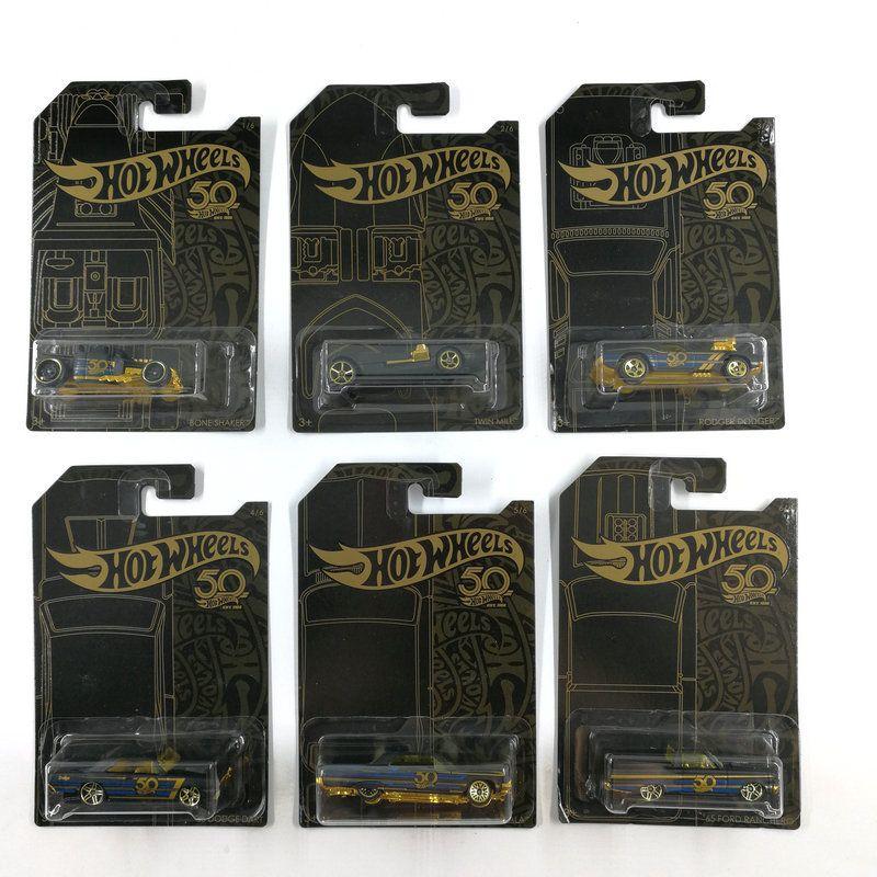 Sıcak Tekerlekler Araba Koleksiyonerinin Siyah Altın Sürümü 50. Yıldönümü Metal Diecast Arabalar Koleksiyonu Çocuk Oyuncakları Araç Hediye Için 6 adet / takım LJ200930