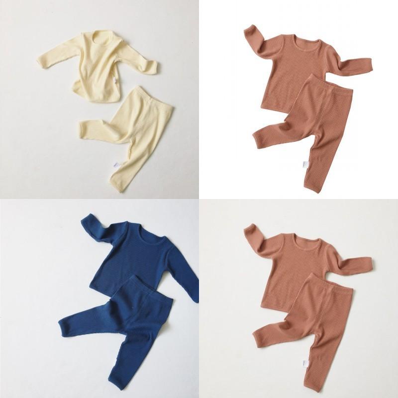 Ins Yaz Sonbahar Toddler Çocuk Erkek Kız Pijama Uzun Kollu Boş Tişörtleri Suits + Pantolon 2 Adet Suits Pamuk Çocuk Giyim Setleri 549 K2