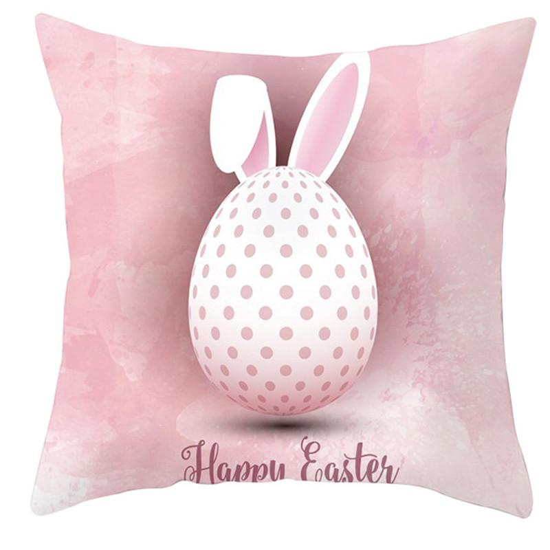 غطاء وسادة عيد الفصح 18 * 18 بوصة الوردي سعيد عيد الفصح أرنب البيض المطبوعة وسادة حالة المنزل أريكة ديكور ZZC4396