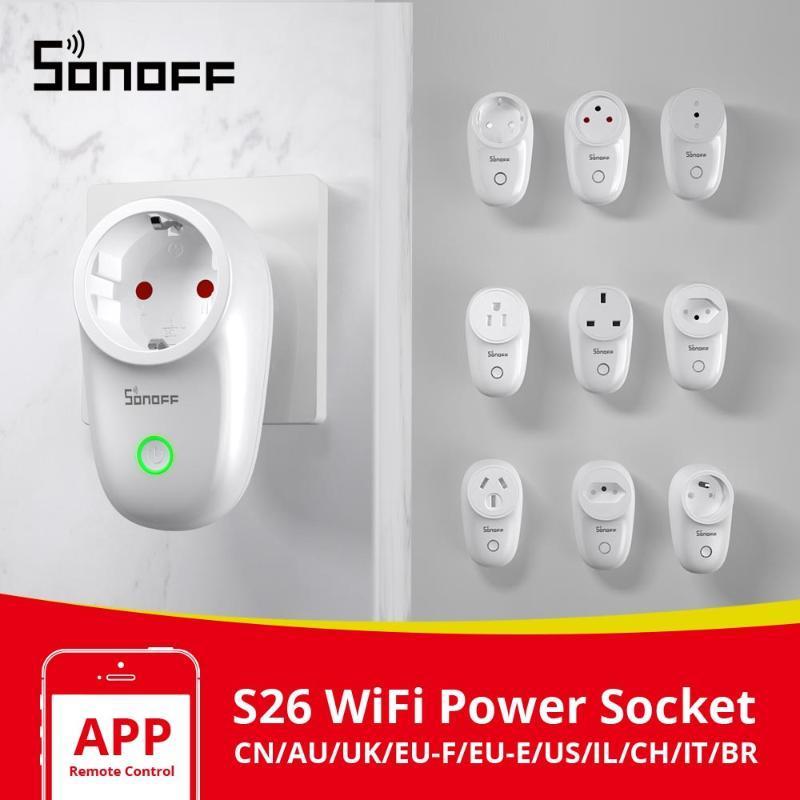 Itead SONOFF S26 Wifi Akıllı Tak Anahtarı AB-E / EU-F / İngiltere / AU / ABD / BR / BT / IL / CH / CN Zamanlayıcı Duvar Priz e-Welink Fişler Çalışma ile Alexa