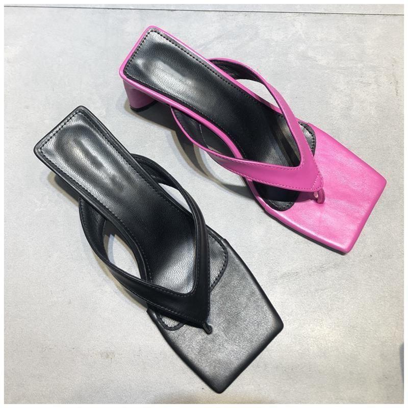 New 2020 Women Slippers Slides Square Toe Med Heel Sandal Shoes Ladies Summer Outdoor Beach Flip Flops Slides Shoes1