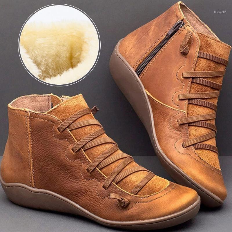 Boots Christmas Women Ankle Women's Vintage Zipper Lace Up Ladies Shoes Woman Retro Working Female 1