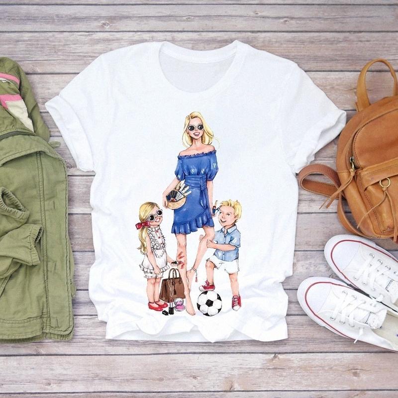 Zogankin Kadınlar Karikatür Süper Anne Hayat Erkek Kız Yaz Baskı Lady T-Shirt Tops T Gömlek Bayanlar Bayan Grafik Kadın Tee # P72O
