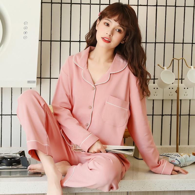 Frauen-Pyjamas für Frauen Frühling und Herbst langärmelige Kleidung nach Hause Baumwolle Winter-Fest Farbe Cardigan Nachtwäsche Anzug