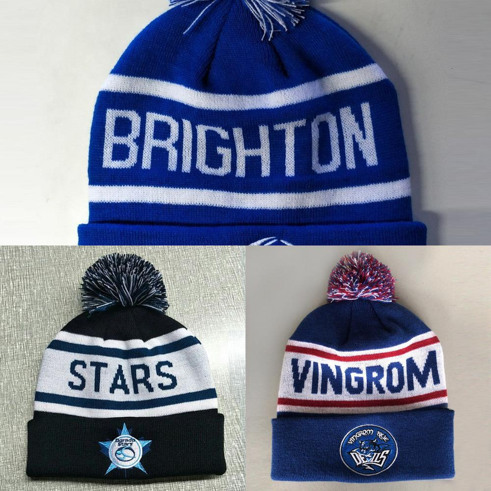 Custom Wholesale Your Own Embroidery Woven Label 100% Acrylic Pom / Knitted Beanie in Winter Hat U2VV