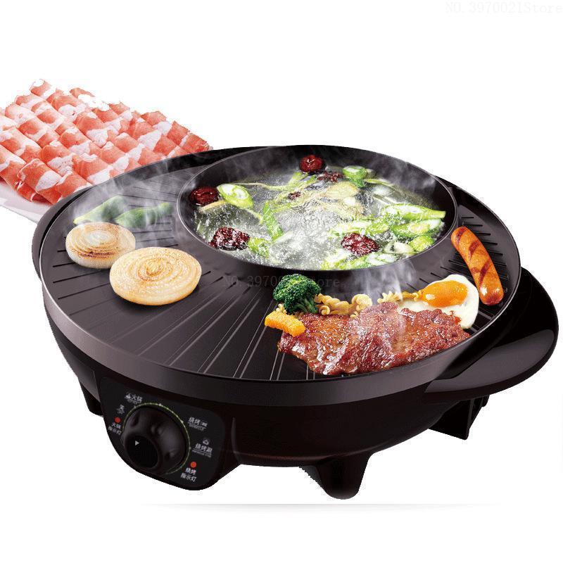 1600W elétrica multi placa de fogão assado fins integrados potenciômetro quente frigideira de forno de grade elétrica como uma máquina de cozinhar conveniente