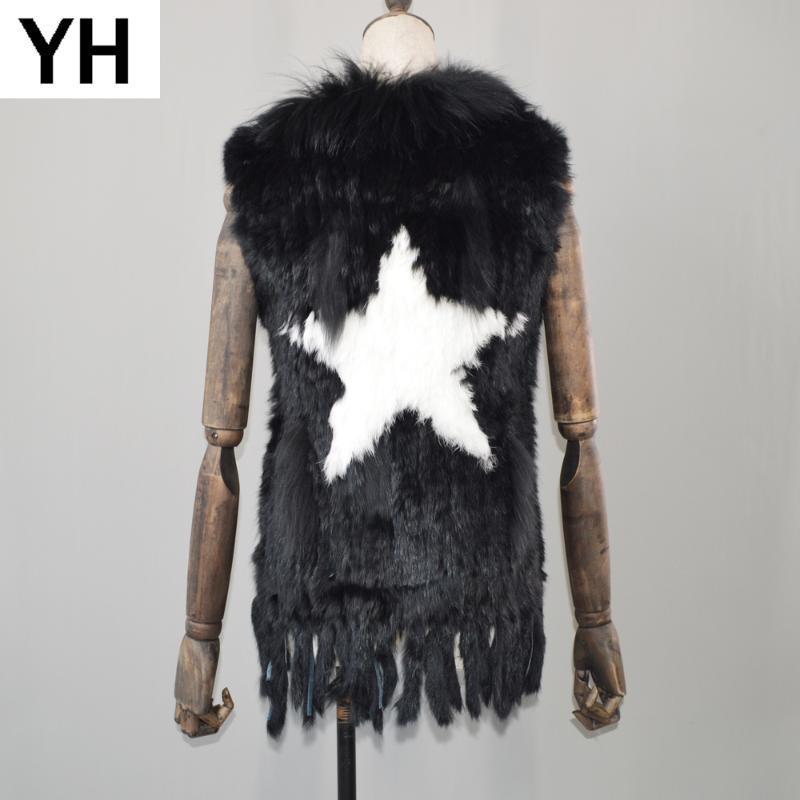 2020 piel de las mujeres Chalecos 100% real de punto genuino de la piel del mapache chaleco con borlas al por menor al por mayor de la capa del collar