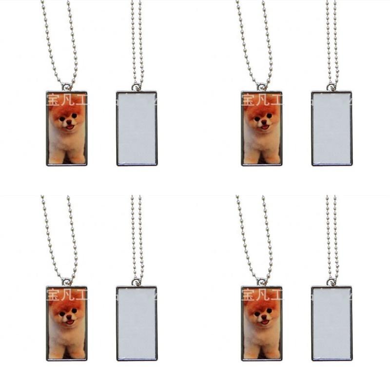 Прямоугольные сублимационные заготовки Подвески Двусторонние Печатные Металлические Цепи Очарование Женщины Мода Ожерелье Отличительный Банкетный Подарок 3 33BF N2