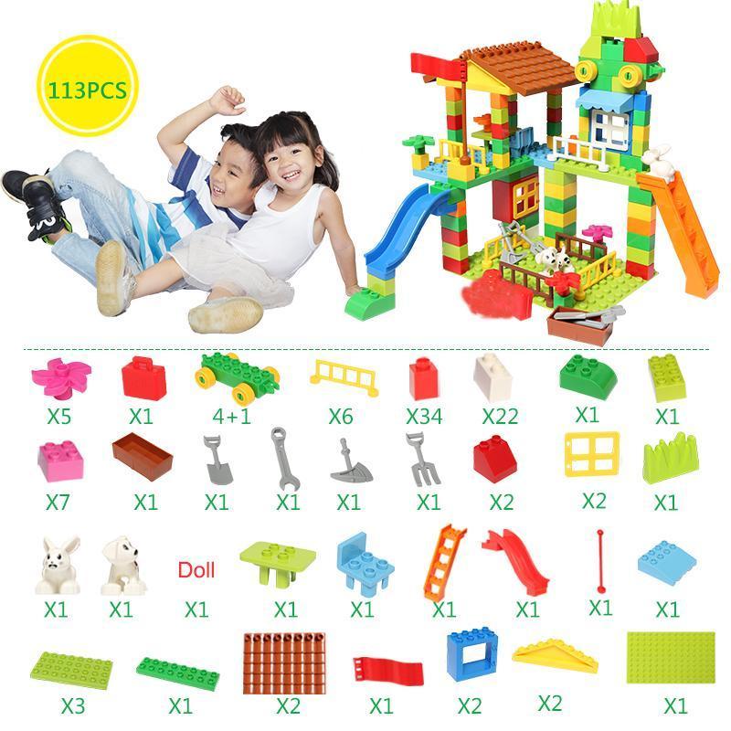 226 113 Adet Büyük Boy Blokları Uyumlu Duploed İnşaat Yapı Taşı Diy Eğlence Parkı Montaj Tuğlalar Oyuncaklar İçin Çocuk bbyCVp