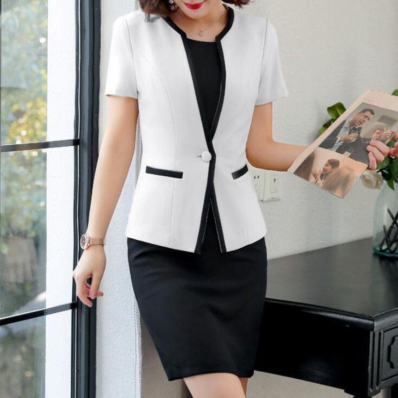Costumes Bureau vêtements pour dames travail formel d'affaires deux pièces Set Plus Size design élégant été Blazer Robe Femmes Uniforme