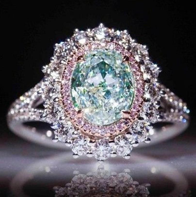 Moda Aksesuar Yeşil Topaz ile Yeni Pembe Kristal Yüzük