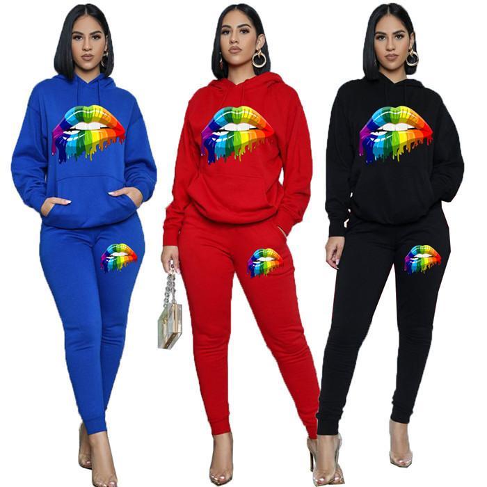 Lippenmuster Zweiteiler Hose Damen Designer Langarm-Kapuzenpulli und beiläufige Hosen Mode-Herbst-Frauen 2pcs Outfit Sets
