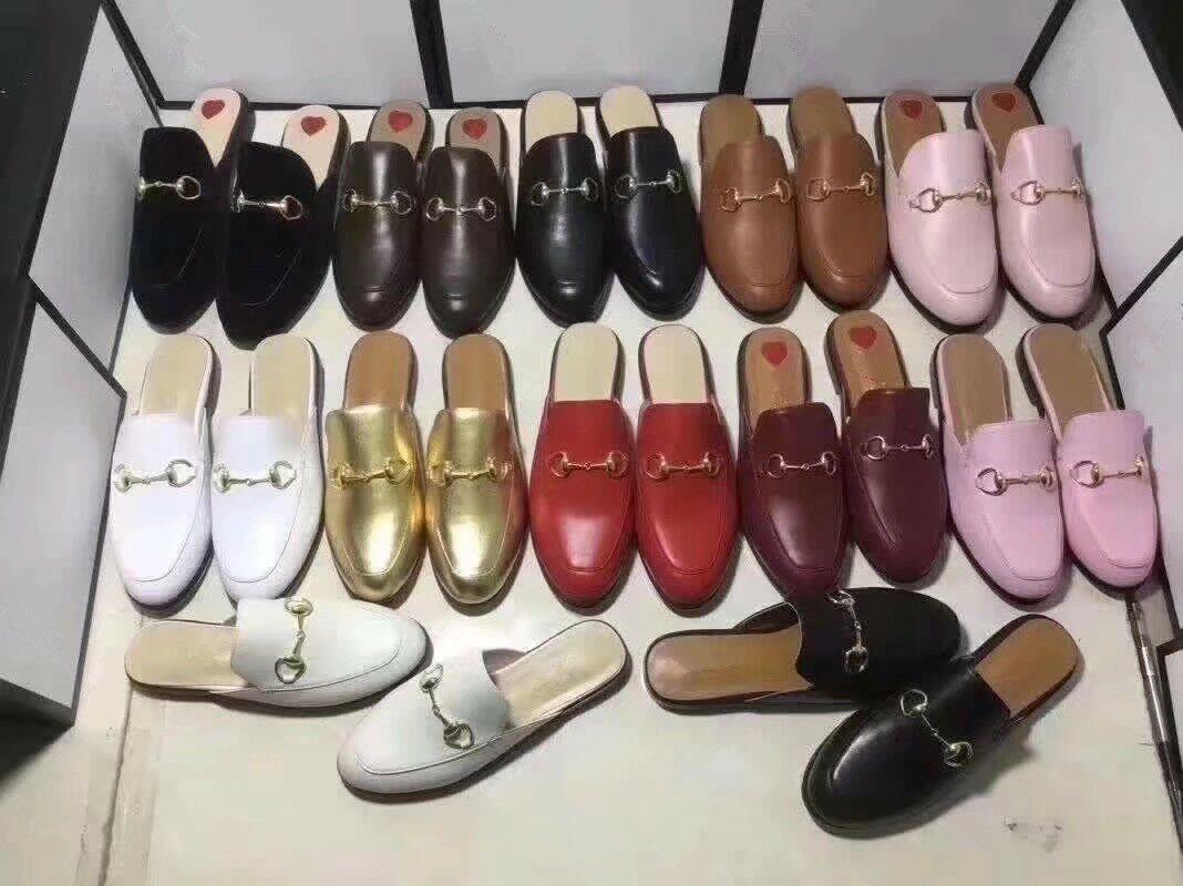 Pantofole da donna Designer Designer Pantofole da uomo Princetown Muli Slipper Mocassini con Big Bow Slipper di Lusso Slipper Bocaferi Piatti Molti stili Big Size 34-46