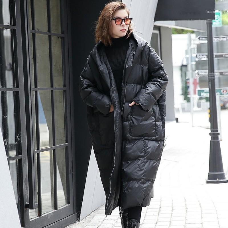 Parkas de la mujer con capucha con capucha de invierno de la manga larga con capucha de invierno color negro algodón acolchado cálido suelto chaqueta grande de tamaño grande mujeres de moda