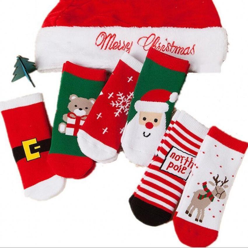1-3년 된면 봄 겨울 가을 아기 소녀 소년 어린이 양말 어린이 스트라이프 테리 눈송이 엘크 산타 클로스 크리스마스 곰