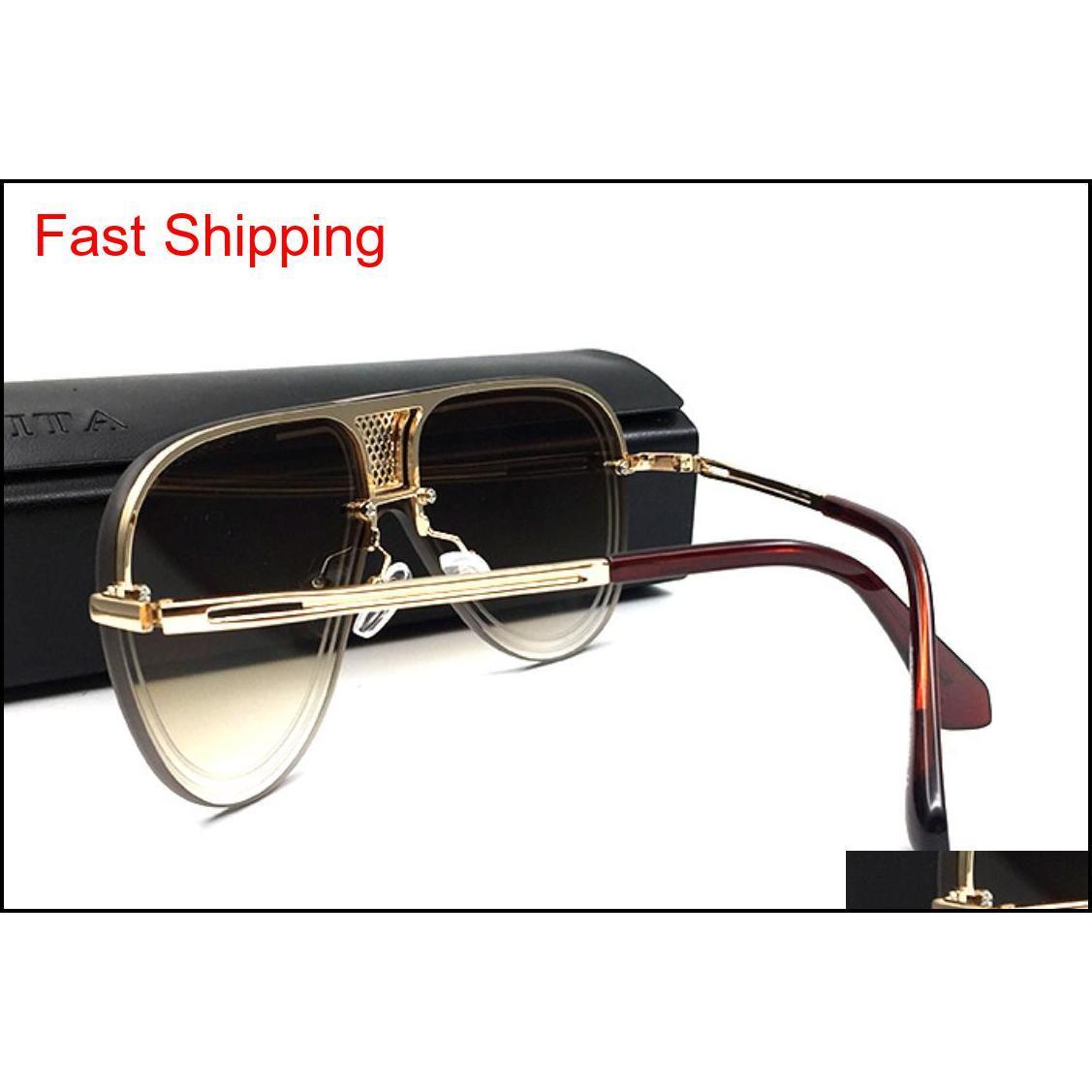 Yeni Lüks Güneş Erkekler Tasarım Metal Vintage Sunglass Moda Stil Kare Metal Çerçeve Boy Güneş Gözlükleri UV QYLXWB HOMES2007
