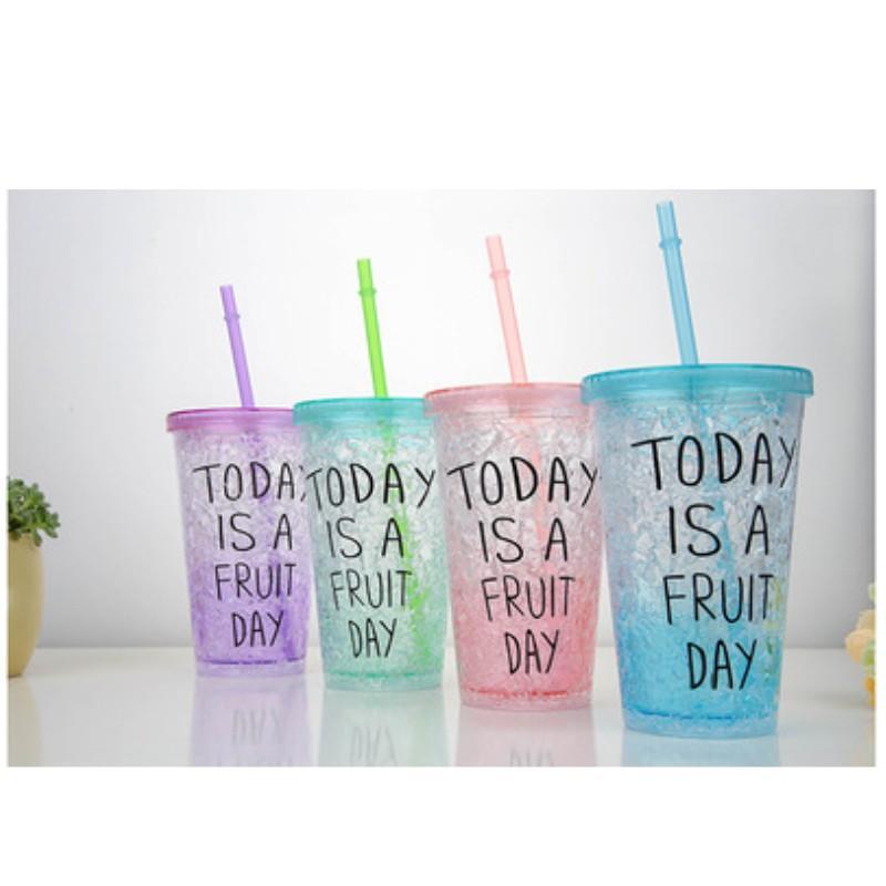 Factory Direct Creative Summer Ice Load Cup Student Double Portable Cup с крышкой солома холодильная ледяная чашка 27 к2