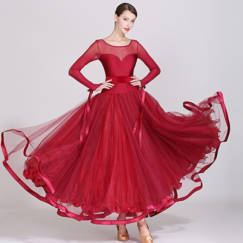 sombres robes de danse de bal rouge salle de bal costume robe de valse viennoise longue robe costumes de tango espagnol standard