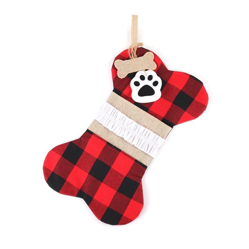 2020 adornos de la moda calcetines de la moda del árbol de navidad bolsas de regalo de la decoración al aire libre de la decoración del arco Plaid Popular Nueva llegada 11 5yw F2