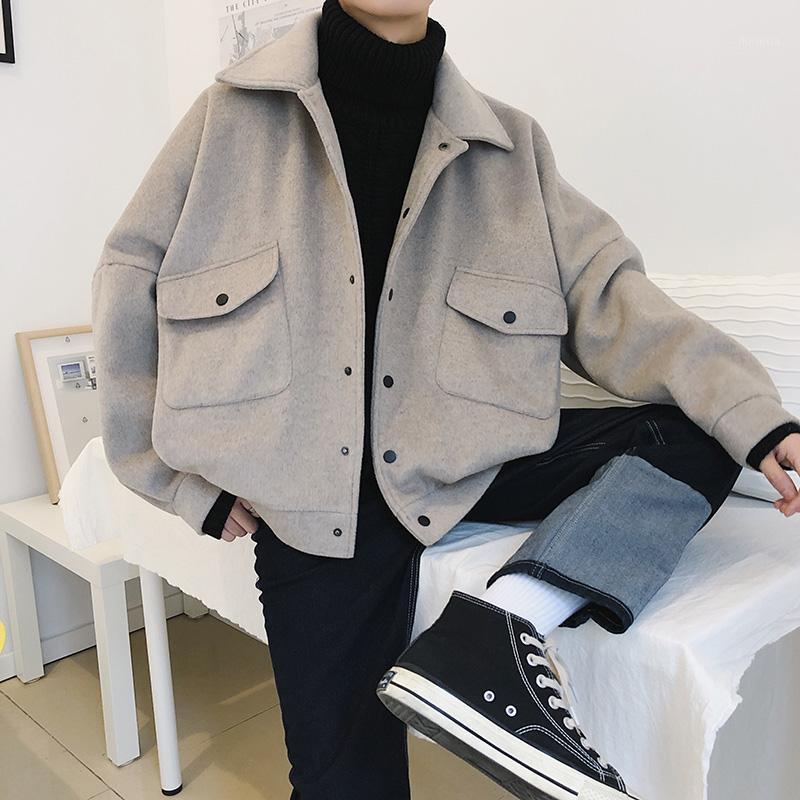 2020 Новая Личность Зимние Пальто Мужчины М-XXL Сплошной Цвет Мода Молодежь Дикий Свободные Шерстяные Пальто с длинным рукавом Темперамент Leisure1