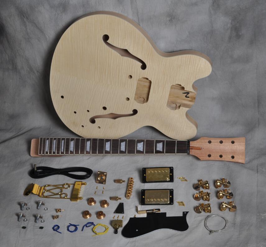 Kit de guitarra eléctrica Semi huecos de alta calidad DIY con holores dobles FLAMET FLAME MAPLE TOP MAQUEO CUELLO DE CABAJO DIFERIERDO DE ROEJO 22 FRET