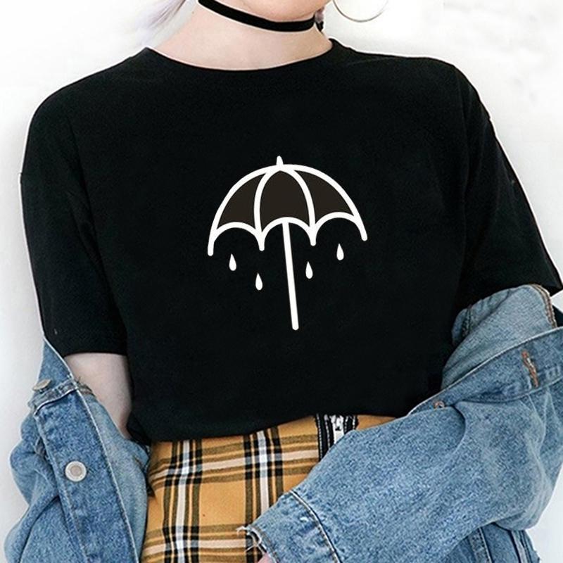Sommer Umbrella Akademie Harajuku T-Shirt Brief Muster Druck Damen Kleidung Casual Rundhals Anime Weibliche Kurzarm