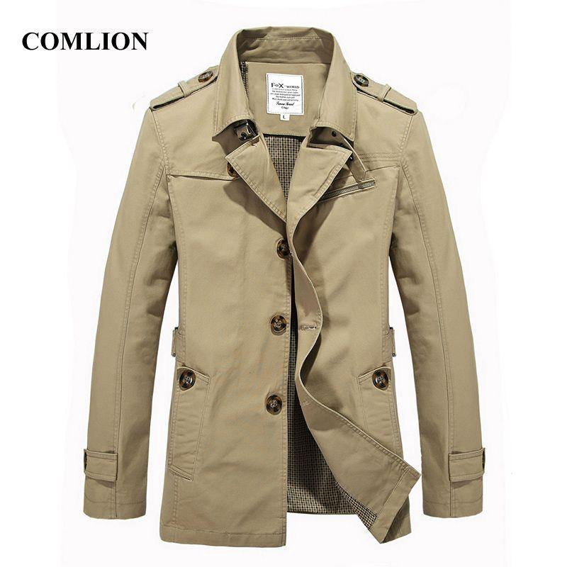 Casual Spring Overcoat High Quality Men Male Classic Trench Coat Men's Fashion Slim Fit Coats Khaki Windbreaker Jackets Long
