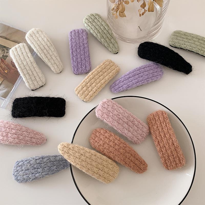 Mädchen-nette Knitting Haarnadeln Wassertropfen Rectangle Hair Clips Fashion Wolle Plüsch-weiche Haarnadeln Barrettes Frauen Haarschmuck