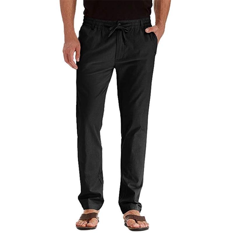 Noir Hommes Santé pantalon Casual Draps Respirant Pantalon long Respirant Couleur Solide Pantalons Sport Pantalons Sport Fitness Y200114
