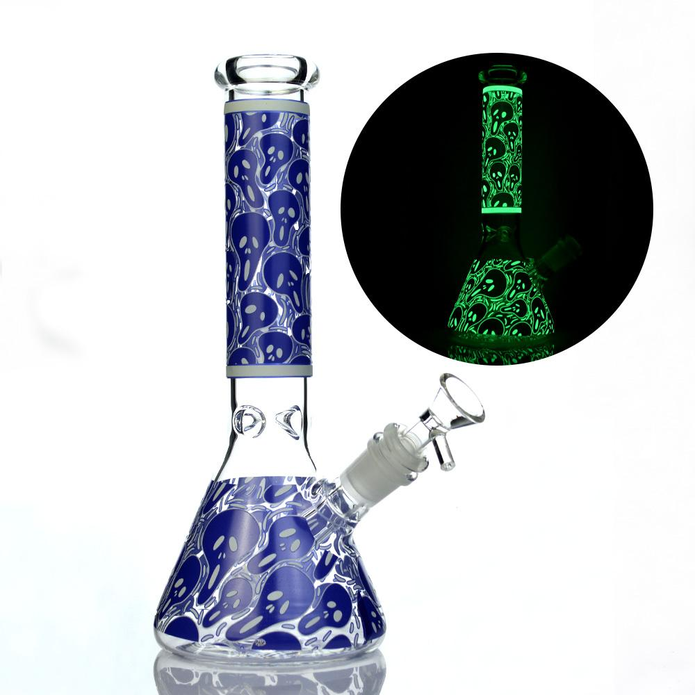 Fulgor no escuro 10 polegadas Beak Bong Pintura de Pintura de Vidro Tubulação de Água 5mm Espessura Dab Rigs Rigs Petróleo RECYCLER