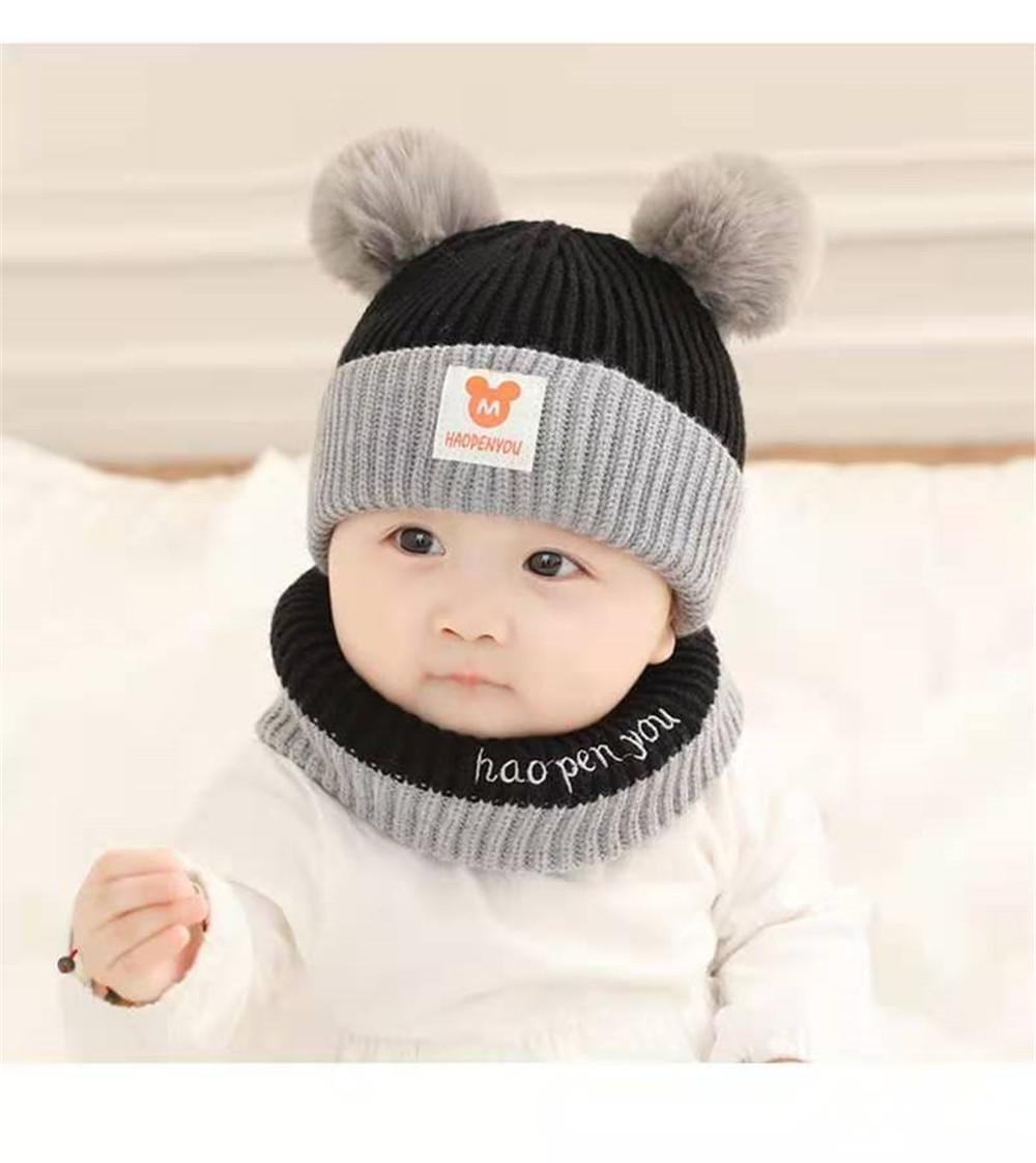 Chapeau de bébé laine laine automne hiver nouveau-né 0-24 mois Protection des oreilles nourrissons et chapeaux pour enfants 0-2 ans