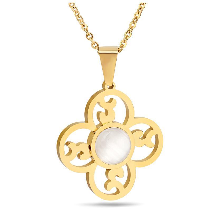 New Designer de luxo da moda elegante jóias de ouro aço inoxidável 316L Opal colares Declaração