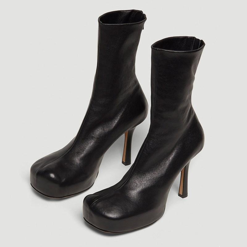 Дизайнер кожа Ботильоны для женщин Упругого Высокого каблука Коротких сапог Квадратный носок платформа Зимней обуви Женщина Botas Mujer