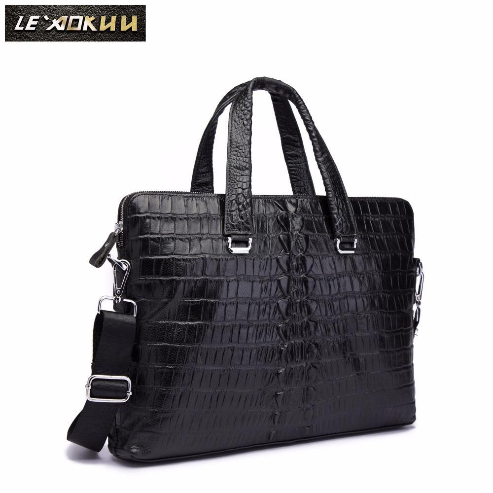 "HBP Men Genuine Leather Black Office Maletas Business Briefcase 15.6"" Laptop Case Attache Portfolio Maletin Messenger Bag 7241 Q0112"
