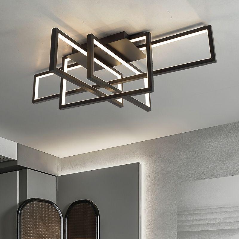 2021 New Moderno LED Chandelier à distance Télécommande au salon Quatrième étage plafond de la maison de décoration noire de famille