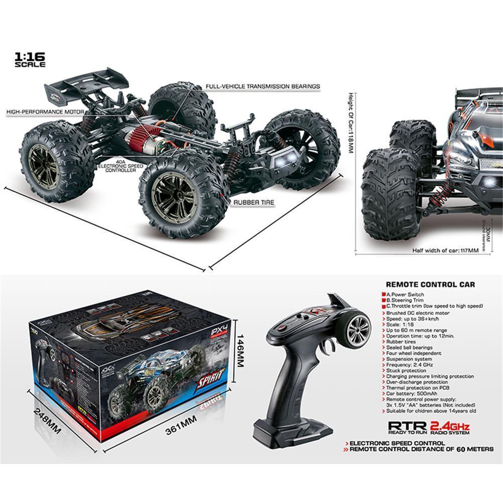 Octown 1/16 2.4G 4WD 32см Spirit RC автомобиль 36 км / ч Бигфут бездорожный грузовик RTR игрушка 9136 Y200413